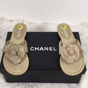 Chanel Beige Suede Camellia Flower Thong Mules